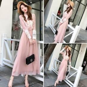 Black pink vintage long sleeve dress prom RBP0737