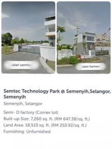 Semi-D Factory Corner Lot At SEMTEC TECHNOLOGY PARK , SEMENYIH