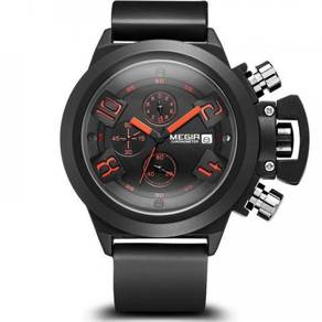 Chronograph Black Silicone Band Watch