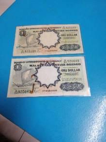 Malay and British Borneo 1 Dollars Note