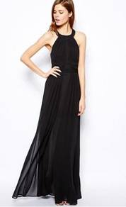 Black prom dinner maxi dress gown RBP0203