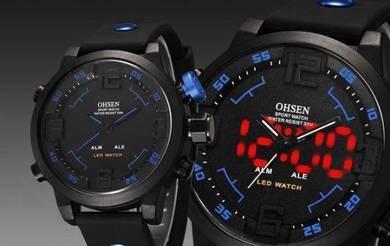 LED Digital & Analog Blue Button Silicone Watch