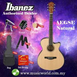 Ibanez aeg8e-nt natural high gloss acoustic electr