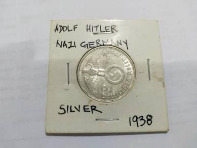 Rare 1938 hitler germany silver coin