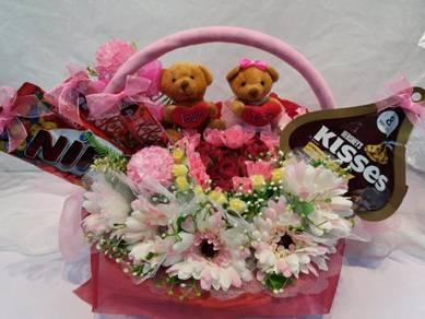 Basket of Everlasting Flowers,Cutie Bears & Chocs