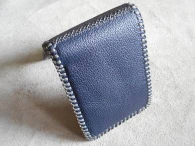 Grey and blue handmade leather wallet grey stitch