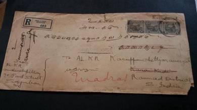 Cover SEREMBAN India 1928 No 3522