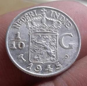 Duit Syiling Nederl Indie 1/10 Gulden 1945