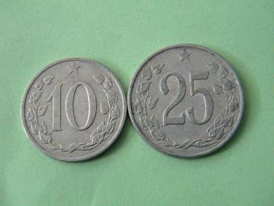 10 & 25 haleru - syiling Czechoslovakia 1963