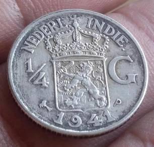 Duit Syiling Nederl Indie 1/4 Gulden 1941 (Item A)
