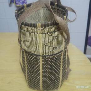 Authentic old hand woven rattan basket