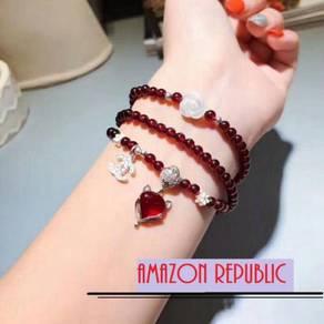 Natural Red Garnet Stone Bracelet: Code AR6001