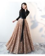 Black gold long sleeve prom dress gown RBMWD0281