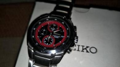 Vintage Seiko chronograph red dial watch