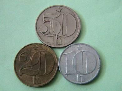 10, 20 & 50 haleru Czechoslovakia