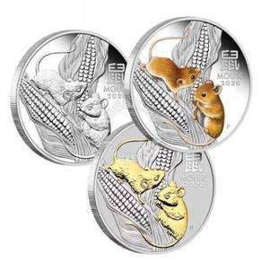 Australian Lunar SIII 2020 Mouse 1oz Silver Trio