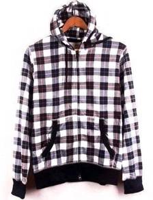 0386 Retro Style Hooded Plaid Men's Sweater Jacket