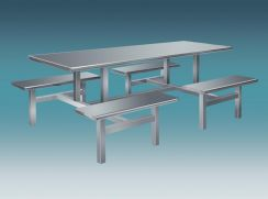 Stainless Steel Canteen Table 8 Seater Bench Set