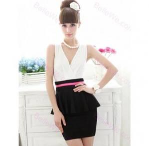 Ready Stock Black Long Bell Sleeve Slim Mini Dress