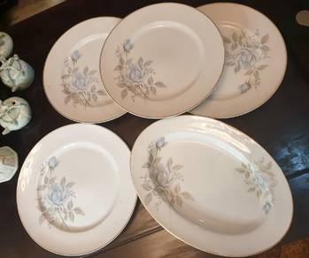 Japanese eiho vintage big blue rose plates SLG