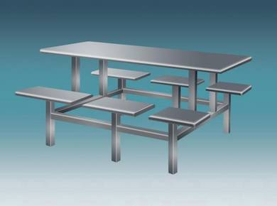 Stainless Steel Canteen Table 6 Rectangular Seat