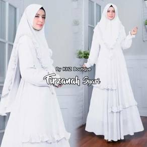 Dress tudung long sleeve Muslimah blue black grey