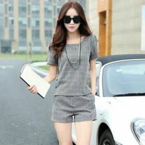 Women Grey Plaid Clothing Set Shirt & Pant