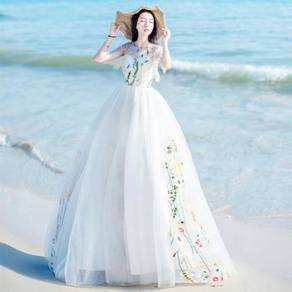 White prom dinner maxi dress gown RBP0210