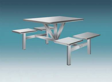 Stainless Steel Canteen Table 4 Rectangular Seat