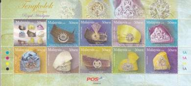 Mint Stamp 10v Royal Headgear Malaysia 2008