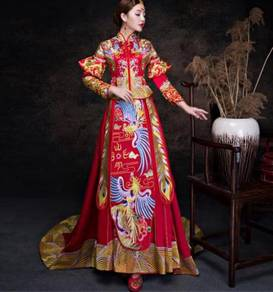 Red long sleeve cheongsam wedding dress RBMWD0160