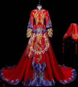 Chinese fishtail red long sleeve cheongsam wedding