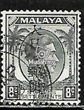 Straits Settlements stamp 1942 6c o/p jp/occup