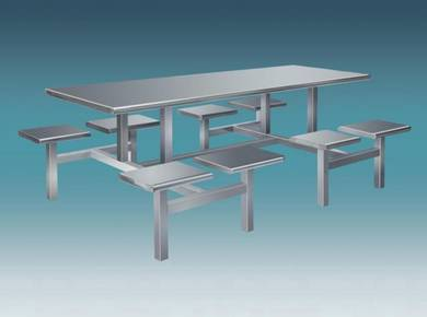 Stainless Steel Canteen Table 8 Rectangular Seat