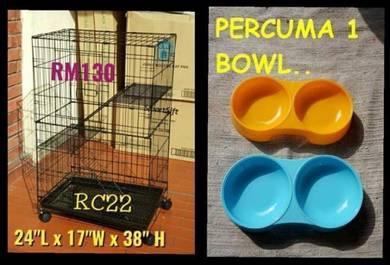 Sangkar kucing 2 tingkat FREE 1 Double Bowl