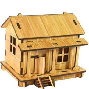 Diy wooden house puzzle