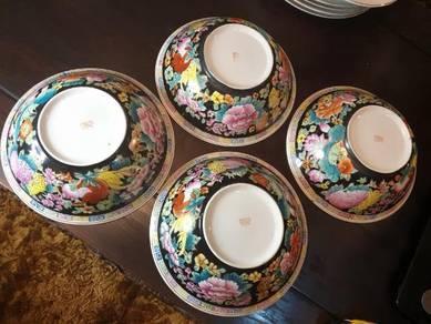 Chinese vintage 4 big bowls handpainted floral SLG
