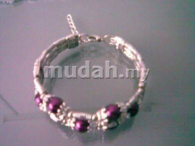 ABBSM-P001 Silver Purple bead 3 layer bracelet FS