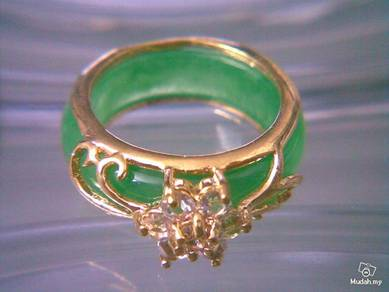 ABRGJ-G001 Gold Metal Crystal Mosaic Jade Ring S77