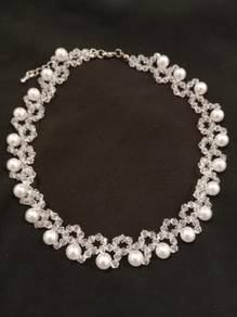 Handmade White Pearl Transparent Bead Necklace