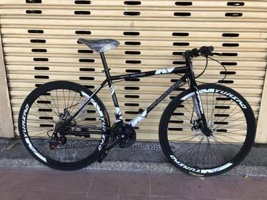 Hybrid Road bike 21S bicycle fixie disc brake