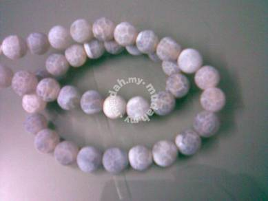 ABNJ-G009 10mm Gray Round Bead Agate 16'' Necklace