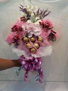 Everlasting Flowers & Chocs Hand Bouquet
