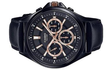 Casio Men Multi Hands Leather Watch MTP-E303BL-1A2