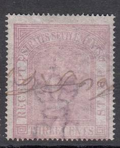 Straits Settlements 1875 3c QV revenue, BL620