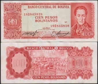 BOLIVIA 100 PESOS 1962 P 163 vf