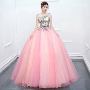 Blue pink puffy wedding bridal gown dress RB0516