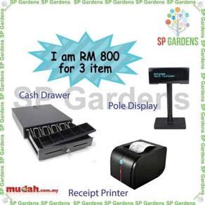 Cash drawer thermal receipt printer 80mm pole disp