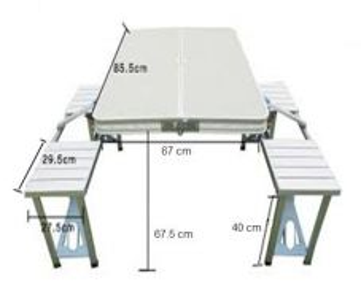 Picnic table aluminium table 4 seat