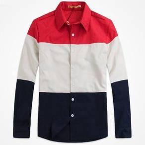 M0516 Kemeja Tri-Color Lengan Panjang Formal Shirt